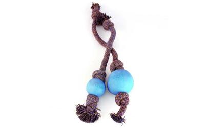 Beco Hundeball mit Tau, blau