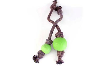 Beco Hundeball mit Tau, grün