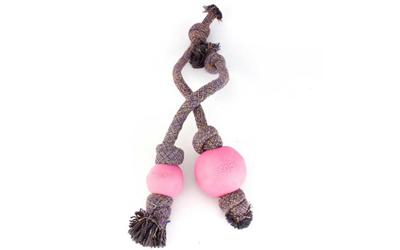 Beco Hundeball mit Tau, pink
