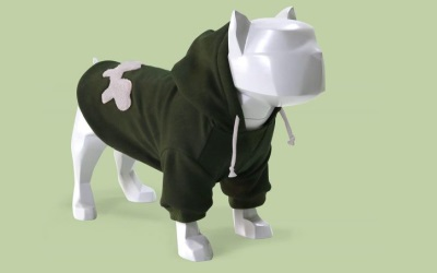 Bull Dogs Cotton Hoodie, Green/Grey