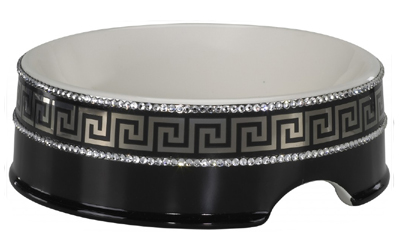 Chacco Keramik Hundenapf Classic Finemit Swarovski Kristallen, schwarz/silber