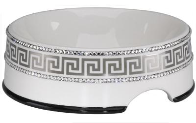 Chacco Keramik Hundenapf Classic Finemit Swarovski Kristallen, weiss/silber