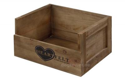 D&D Heartfelt Wooden Crate Hundebett aus Holz, Größe S