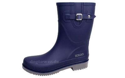 doggo Damen PVC Stiefel Lotte, 3/4 hoch, blau/grau