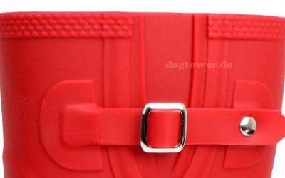 doggo Damen PVC Stiefel Lotte, 3/4 hoch, rot mit seitlicher Zierschnalle