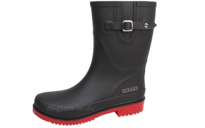 doggo Damen PVC Stiefel Lotte, 3/4 hoch, schwarz/rot