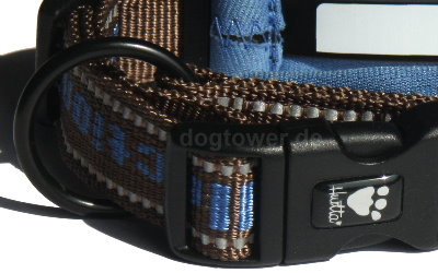 Hurttahalsband mit Klickverschluß und Ring zur Befestigung der Leine