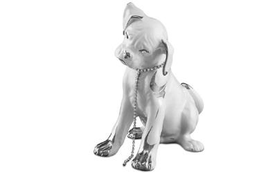 Handbemalte Keramik Boxerwelpen sitzend mit Swarovski Hundehalsband und Platinzeichnung