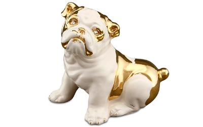 Handbemalte Keramik Bulldogge mit Swarovski Augen und Goldzeichnung