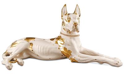 Handbemalte Keramik Dogge mit Swarovski Hundehalsband mit Goldzeichnung