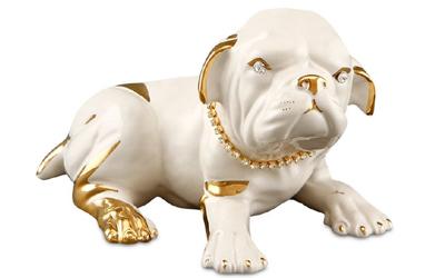 Handbemalter Keramik Bulldog mit Swarovski Hundehalsband und Augen mit Goldzeichnung