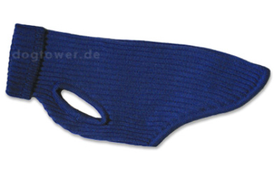 iqo Hundepullover 100% Schurwolle, blau/schwarz