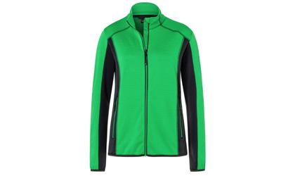 James & Nicholson Damen Strukturfleece Jacke, fern-green/carbon