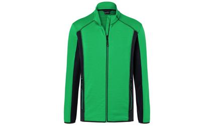 James & Nicholson Herren Strukturfleece Jacke, fern-green/carbon