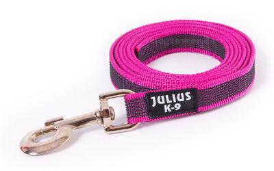 Julius K9 gummierte Hundeleine, pink grau