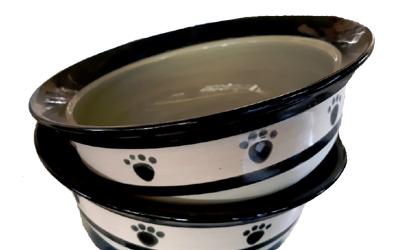 Keramik Hundenapf Tatzen, beige/grau