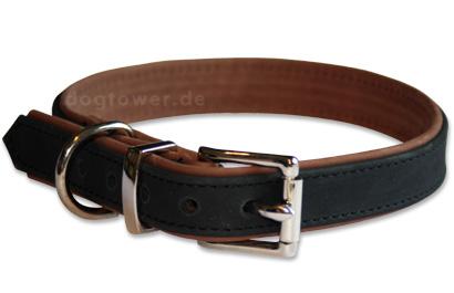 IQO Leder Hundehalsband, schwarz/tabac
