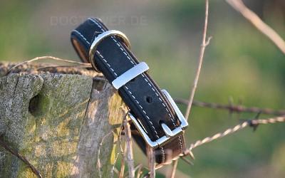 Leder Hundehalsband, schwarz
