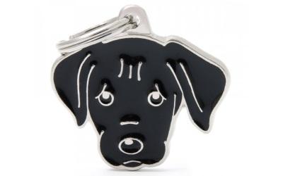 myfamily Adressanhänger Hundemotiv Schwarzer Labrador