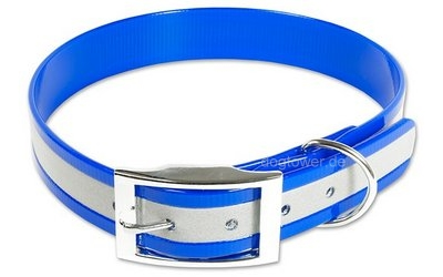 Mystique Halsband Biothane Deluxe, blau (Reflektor)