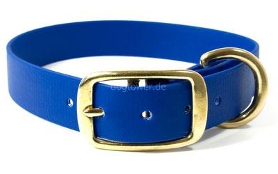 Mystique Halsband Biothane Deluxe (Messing), blau