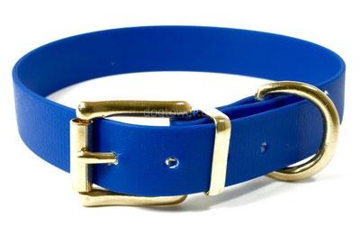 Hundehalsband Biothane (Messing), blau