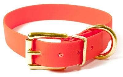 Mystique Hundehalsband Biothane (Messing), neon-orange