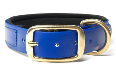 Mystique Biothane Halsband Deluxe Neopren (MESSING), beta blau