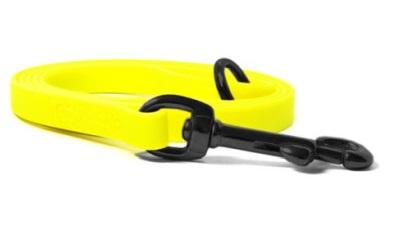 Mystique® Biothane Leine neon gelb schwarz Karabinerhaken mit HS vernäht