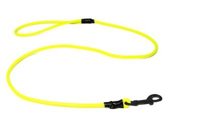 Mystique® Biothane Leine rund neon gelb schwarz Karabinerhaken mit HS