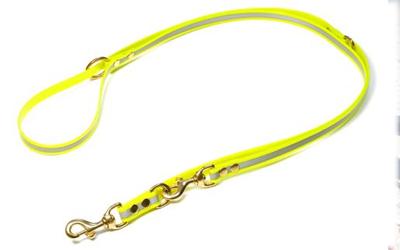 Mystique Biothane REFLEX verstellbare Leine Führleine (MESSING Karabiner), gelb gold