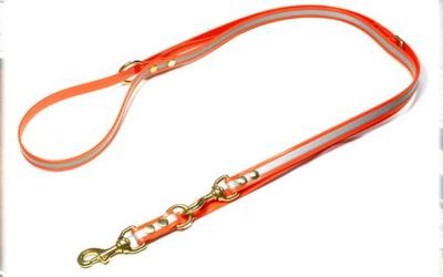Mystique Biothane REFLEX verstellbare Leine Führleine (MESSING Karabiner), orange gold