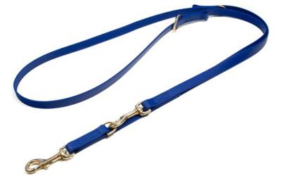 Mystique Biothane verstellbare Leine Führleine (MESSING Karabiner, VERNÄHT), blau