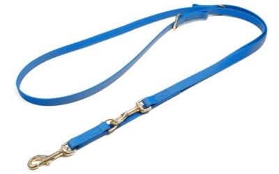 Mystique Biothane verstellbare Leine Führleine (MESSING Karabiner, VERNÄHT), hellblau
