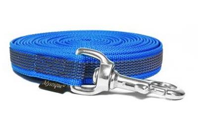 Mystique gummierte Schleppleine (rostfrei Karabinerhaken), blau