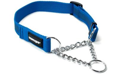 Mystique gummiertes Halsband mit Durchzugskette, blau
