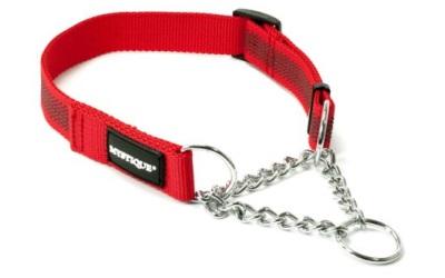 Mystique gummiertes Hundehalsband mit Durchzugskette, rot