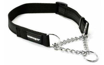 Mystique gummiertes Hundhalsband mit Durchzugskette, schwarz