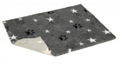 Original Vetbed Premium Hundedecke, grey with white stars and paws