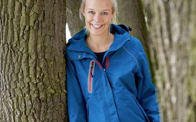 Damen-Outdoor-Jacke mit fester Kapuze, wasser- und winddicht
