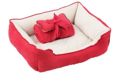 Petgard Hundebett inkl. Spielknochen & Kuscheldecke rot-weiss