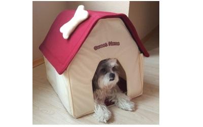 Petgard Hundehaus Hundehütte aus Stoff Sweet Home weiss-rot
