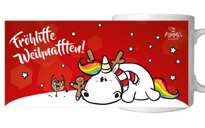 Pummeleinhorn Tasse X-Mas Weihnafften (rot)