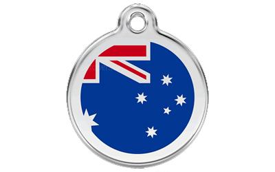 Red Dingo Polierte rostfreie Stahl- Hundemarke Australische Flagge dunkelblau, inklusive Gravur