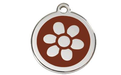 Red Dingo Polierte rostfreie Stahl- Hundemarke Blume braun, inklusive Gravur