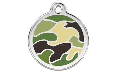Red Dingo Polierte rostfreie Stahl- Hundemarke camouflage grün inklusive Gravur