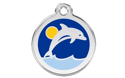 Red Dingo Polierte rostfreie Stahl- Hundemarke Dolphin, inklusive Gravur
