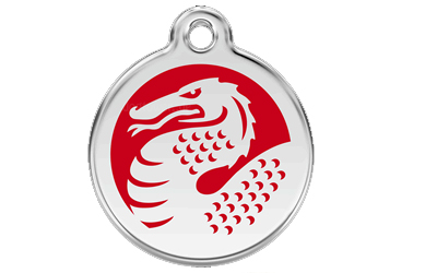 Red Dingo Polierte rostfreie Stahl- Hundemarke Dragon rot, inklusive Gravur