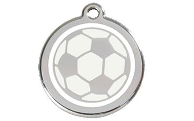 Red Dingo Polierte rostfreie Stahl- Hundemarke Fussball, inklusive Gravur