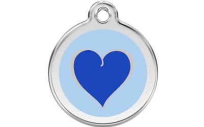 Red Dingo Polierte rostfreie Stahl- Hundemarke Heart Blue, inklusive Gravur